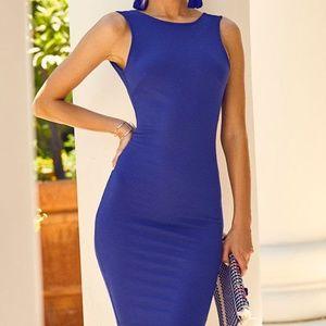 Brand New Royal Blue Backless Midi Dress